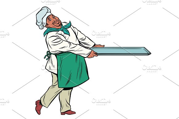 African Chef Cook With Tray Of Food