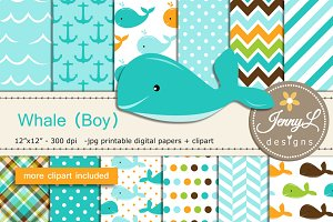 Whale Boy digital papers clipart