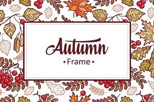 Autumn leaves. Frame. Set.