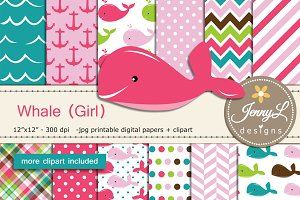 Whale girl digital papers  & clipart