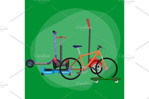 Isolated Electric Scooter One And Two-wheeled Mobility Vehicle Vector Illustration Eco Alternative City Transport