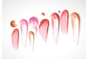 Collection of various Smears lipstick on white background.