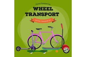 one and two-wheeled mobility electric vehicle vector illustration, Eco alternative city transport.
