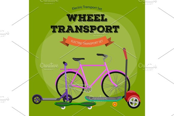 One And Two-wheeled Mobility Electric Vehicle Vector Illustration Eco Alternative City Transport