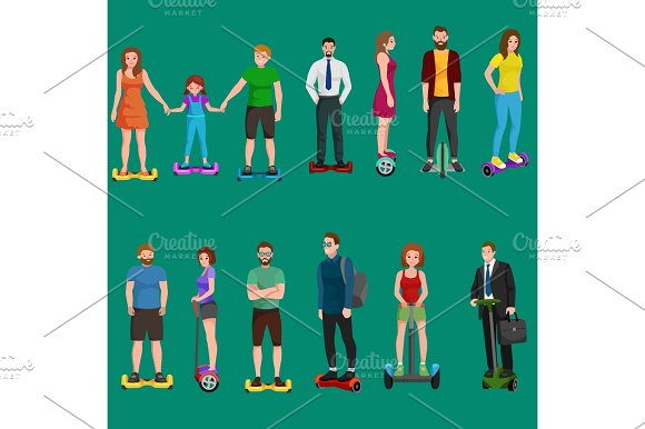 Active Peoples Fun With Electric Scooter Family On New Modern Technology Hoverboard Man Woman And Child Self Balance Wheel Transport Gyroscooter Ride The Street Vector Illustrator