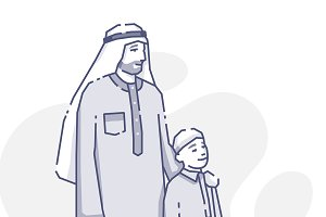 Arabian father and son