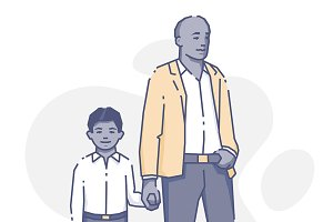 Black man standing with son