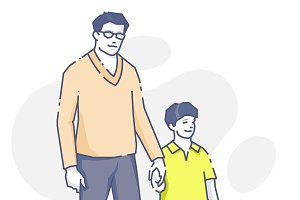 Man standing with son