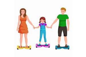 active peoples fun with electric scooter, family on new modern technology hoverboard, man woman and child self balance wheel transport gyroscooter ride the street vector illustrator