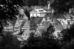 Black and white city in Germany.