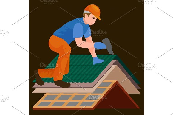 Roof Construction Worker Repair Home Build Structure Fixing Rooftop Tile House With Labor Equipment Roofer Men With Work Tools In Hands Outdoors Renovation Residential Vector Illustration