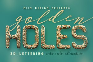 Full Of Holes - Golden 3D Lettering
