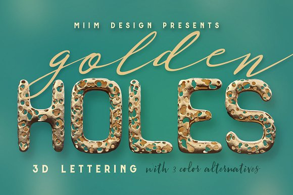 Full Of Holes Golden 3D Lettering