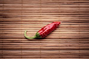 Chili Pepper on a Bamboo Mat