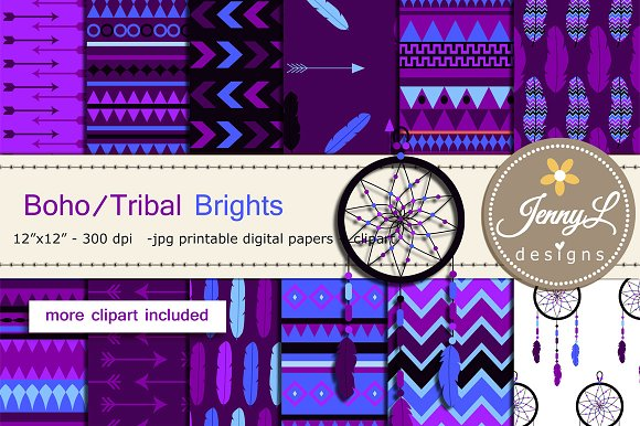 Tribal Boho Brights Digital Papers