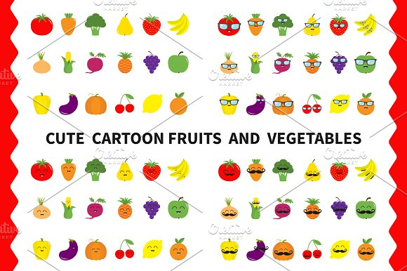 Fruit berry vegetable face icon set