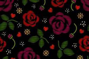 Embroidery pattern with roses