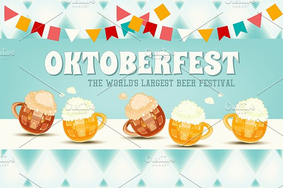 Oktoberfest Beer Festival in Illustrations