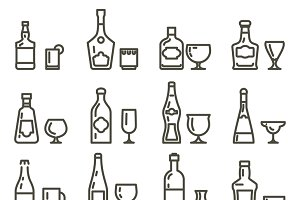 Alcohol beverages line art icons