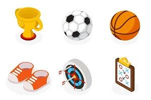 Isometric sport flat icons