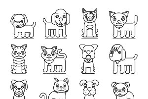 Pets line icons