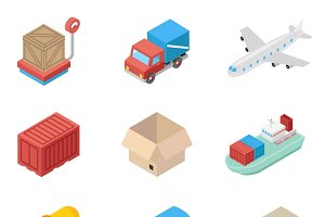 Isometric cargo transportation icons