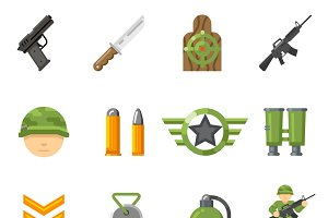 War game flat icons