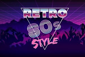 Retro 80s eighties neon background