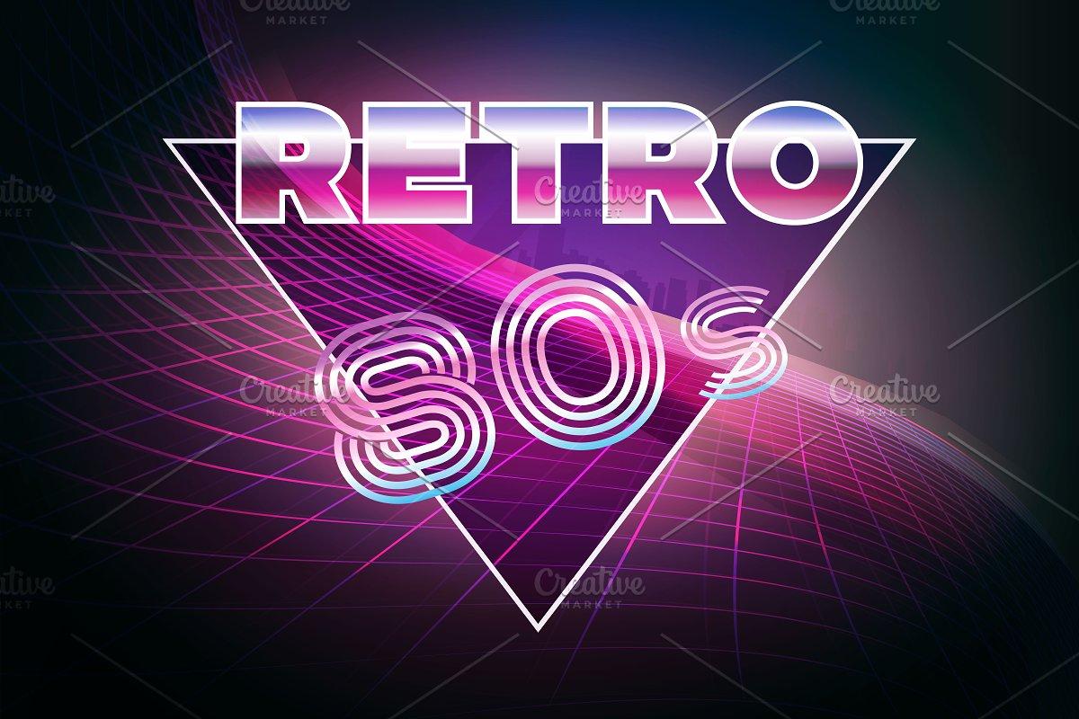 Retro 80s eighties neon background