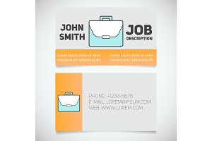 Business card print template with briefcase logo