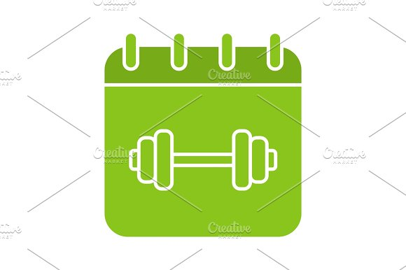 Gym Workout Schedule Glyph Color Icon