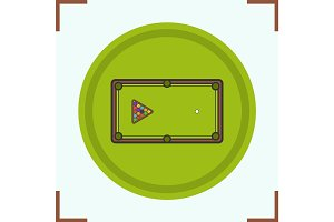 Billiard table color icon