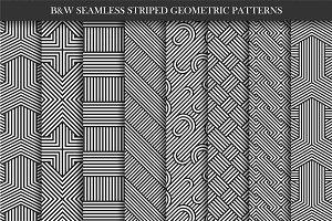Geometric striped seamless patterns.
