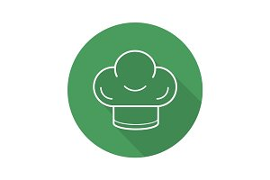 Chef's hat flat linear long shadow icon