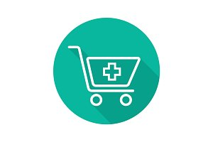 Drugstore shopping flat linear long shadow icon