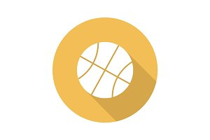 Basketball ball flat design long shadow glyph icon