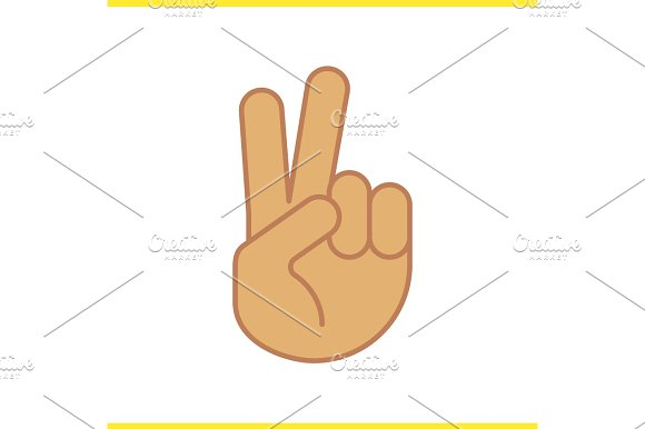 Peace Hand Gesture Color Icon