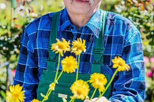 Senior gardener showing a potted flower.
