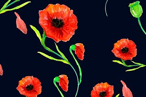 Red Poppies Field Background Pattern