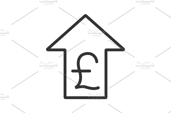 Pound Rate Rising Linear Icon