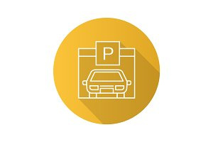 Parking place flat linear long shadow icon