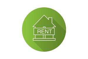 House for rent flat linear long shadow icon