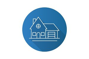 Cottage flat linear long shadow icon