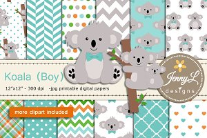Koala Boy Digital Papers & Clipart