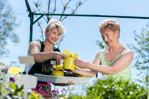 Mature gardener helps senior client with flowers