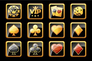 Glass golden and black casino icons, poker game symbols