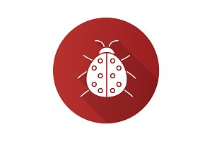 Ladybug flat design long shadow glyph icon