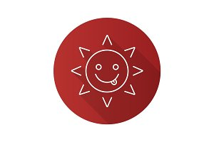 Yummy sun smile flat linear long shadow icon