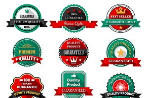 Flat quality guarantee icon labels