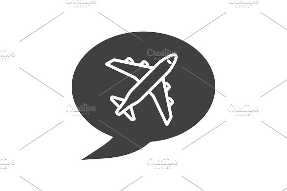 Chat Box With Airplane Takeoff Inside Glyph Icon